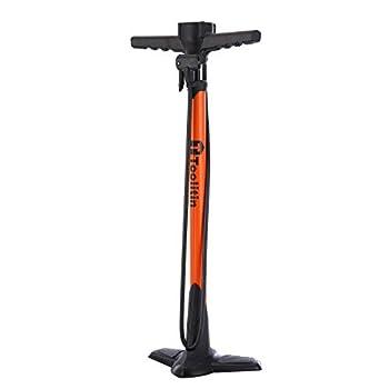TOOLITIN Pro Bike Pump Ergonomic Bicycle Pump with Integrated Handle Mounted Pressure Gauge 180 Psi Fits Presta and Schrader Valve