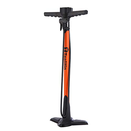 TOOLITIN Pro Bike Pump, Ergonomic Bicycle Pump with Integrated Handle Mounted Pressure Gauge, 180 Psi, Fits Presta and Schrader Valve