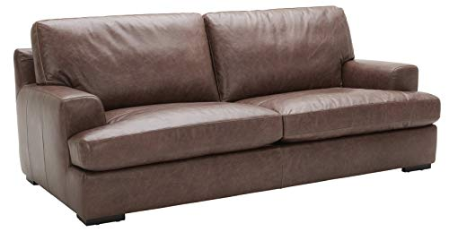 """Amazon Brand – Stone & Beam Lauren Down-Filled Oversized Leather Sofa Couch with Hardwood Frame, 89""""W, Dark Brown"""