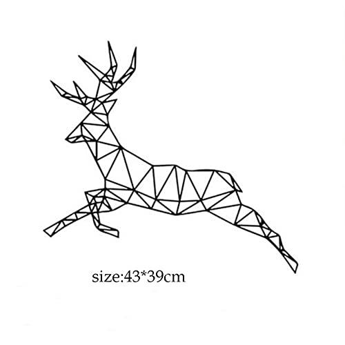 Vkjrro Pegatinas de Pared de Animales de línea Abstracta geométrica, Pegatinas de Arte con patrón de Ciervo, Zorro Grande, caniche, Mural, decoración de habitación, Pegatinas de Pared, 72x65cm