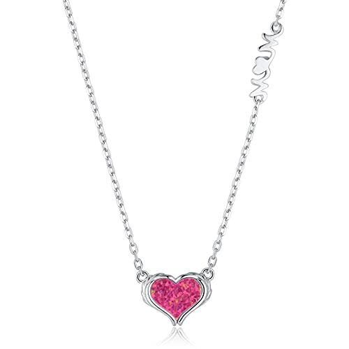 Qings Collar Colgante Ópalo de Corazón, Plata de Ley 925 Alas de Angel Colgante Collar Regalo de Joyería para Mujeres y Mamá