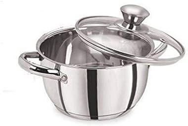 WELKIN STAR Steel Handi with lid/Stainless Steel Sauce Pot with lid Glass lid/Kadhai/Sauce Pot/Kadhai/Handi/Steel Handi/Fry P