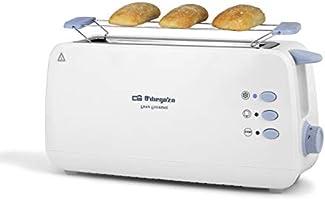 Orbegozo TO 4012 - Tostadora de ranura larga, calienta panecillos, 7 niveles de tostado, función descongelación y...