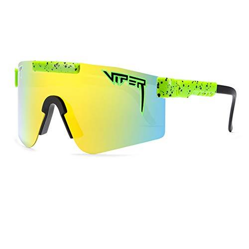 Qianghua Gafas de Sol Deportivas polarizadas, Gafas de protección UV 400 con Personalidad a la Moda y Coloridas, Marco Grande, para Deportes al Aire Libre Ciclismo Correr Escalada Pesca,A14