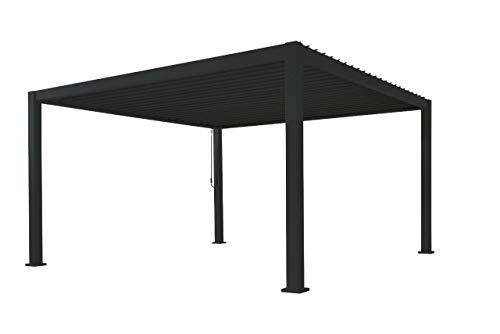 SORARA Mirador Deluxe Gazebo 3 x 4 m Waterproof Pergola with Slat Roof Aluminium Patio Canopy Black