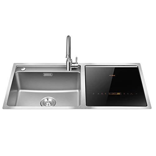 FOTILE SD2F-P1X Stainless Steel Kitchen Sink Dishwasher Combination, Heavy Gauge Bowl Dish Sanitizing Fruit and Vegitable Washer