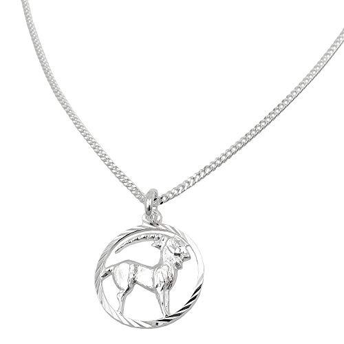 Gallay Colgante con signo del zodiaco Capricornio con cadena de 1,4 mm de grosor, plata 925, 45 c
