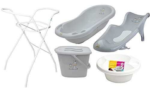 5er Set Baby-Badewanne Set Babywanne 84 cm mit Stöpsel Anti-Rutsch Boden + Ständer + Badesitz Badewannensitz + Windeleimer + Waschschüssel