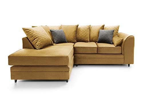 Abakus Direct Chicago Corner Sofa Settee Right or Left in Antique Gold Water Repellent Velvet Fabric (Left Hand Facing)