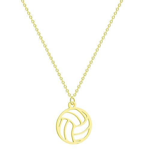 Hwenli Halskette mit rundem Volleyball-Anhänger aus Edelstahl, Volleyball-Anhänger, Schlüsselbeinkette für Unisex Schmuck, Sport-Charm, Volleyball-Sport-Fans, Geschenke, Gold