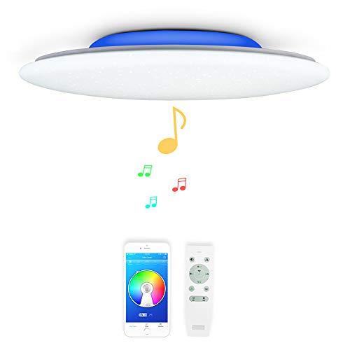 36W Φ40cm Estrellado Musica Plafones LED con 2 Bluetooth Altavoz y Mando, Lampara Regulable de Techo con RGB Color,Moderna Redondo Luz Para Iluminacion Interior Habitacion Baño comedor Salon
