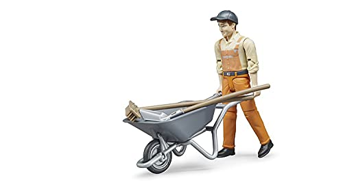 Bruder Toys - Bworld Municipal Worker in Dungarees and Cap Action Figure with Grasping Hands and Moveable Limbs and Head - Figure Includes Broom, Shovel, and Wheelbarrow - Ages 4+