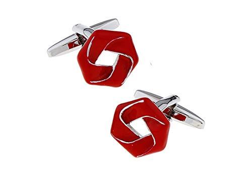 Daesar Männer Manschettenknopf Hemd Silber Rot Pentagon Edelstahl Herren Manschettenknöpfe Geschäft Hochzeit Geschenk