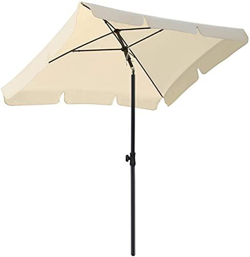 Sombrilla redonda de 270 cm de diámetro, sombrilla inclinable, sombrilla de jardín con manivela, protección solar, exterior, para jardín, balcón y patio, UV50 + beige BJY969 (tamaño: 125 x 200 cm)