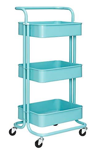 Iris'Home 3-Tier Metal Rolling Utility Cart with Handles, Art Storage Cart, Makeup Cart with Wheels, Lash Cart, Organizing Cart, Bathroom Cart, Turquoise