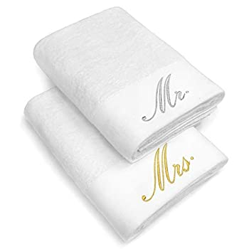 Kaufman - Luxurious Couples Embroidered Bath Sheet Set of 2 Large Towels for Partners  White - Mr and Mrs