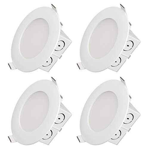 TORCHSTAR 4 Inch 9W Ultra-Thin Recessed Light Airtight, 65W Eqv, UL & Energy Star Certified, Dimmable J-Box Ceiling Lighting, 3000K Warm White, Pack of 4