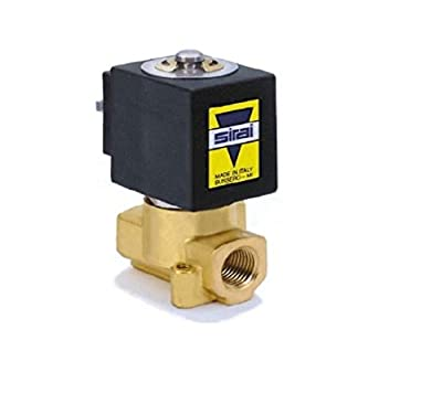 "Sirai L121BB022A10AH1 Brass Body Direct Acting General Service Solenoid Valve, 1/4"" Pipe Size, 2-Way Normally Closed, Nitrile Butylene Sealing, 3/32"" Orifice, A10A DIN Coil, 0.17 Kv Flow, 24V/DC by ASCO Valve Inc."