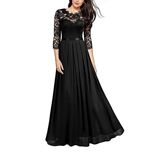 KeYIlowys Vestido de Gasa de Gasa Vestido de Encaje de Mujer Vestido de Noche Vestido Largo de Banquete Decoración de Encaje Sexy