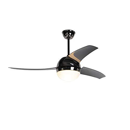 QAZQA Moderno Ventilador de techo con luz y mando a distancia negro con control remoto - Bora 52 Vidrio/Plástico/Acero Redonda Adecuado para LED Max. 2 x 20 Watt