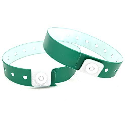 Set de 100 pulseras de plástico/vinilo para eventos, personalizables e impermeables (verde)