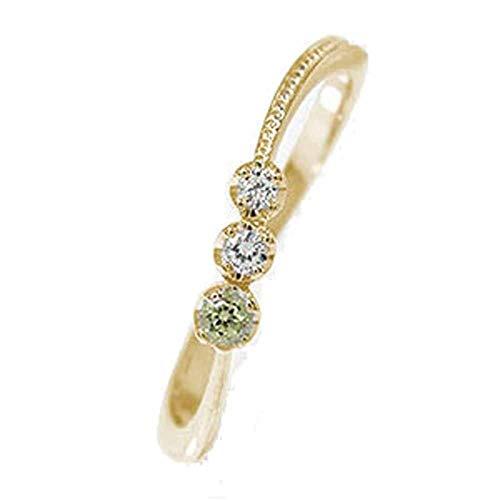 アルマ リング 18金イエローゴールド ペリドット 誕生石 レディース ダイヤモンド 指輪 13.5号 【160829w23】