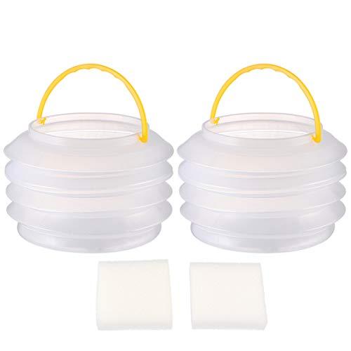 Wakauto 2 Stück Kinder Zusammenklappbarer Eimer Klar Tragbare Faltbare Eimer Eimer Wasserbehälter für Kleinkinder Kinder Strand Camping Angeln 2L