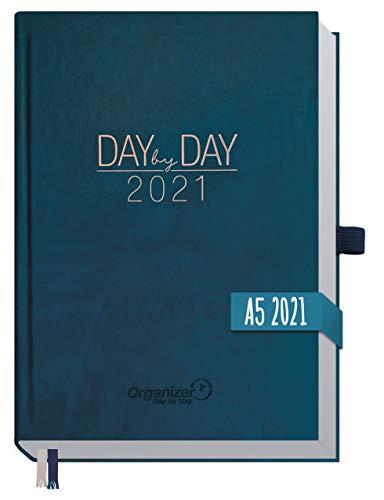 Chäff Organizer Day by Day 2021 A5 [Nachtblau] 1 Tag pro Seite | Hardcover Kalender 2021, Tagesplaner, Terminkalender, Terminplaner, Tageskalender | nachhaltig & klimaneutral