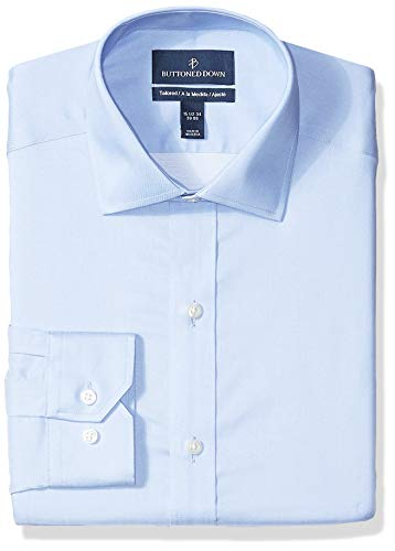 Buttoned Down Tailored-Fit Spread-Collar Micro Twill Non-Iron dress-shirts, Light Blue, 16.5