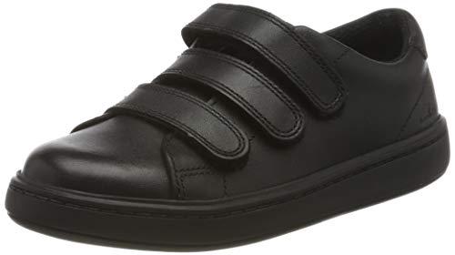 Clarks Jungen Street Swift K Sneaker, Schwarz (Black Leather Black Leather), 29 EU