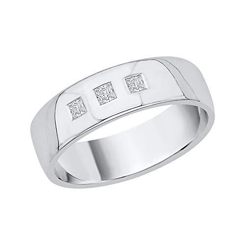 KATARINA Alianza de boda para hombre con diamante de corte princesa en oro de 14 quilates (1/6 quilates, J-K, SI2-I1)