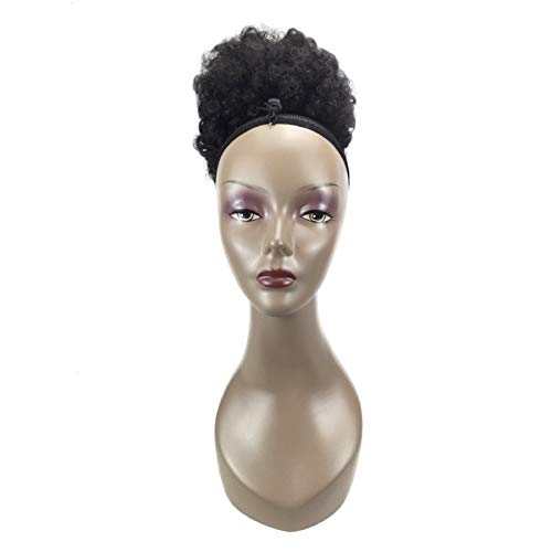 RISTHY Pelucas Afro Pelo Natural Rizos Pelucas Negras Pelucas de Pelo Cortos Rizados Pelucas Sintéticas Puff Chignon Pelo de Extensión Peluca Talla Única Pelo Mullido para Mujer