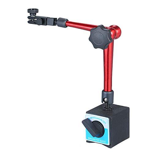 OBEST マグネットベーススタンド ダイヤルゲージ スタンド フレキシブル磁気ベース 防水 ブラケットツール 調整可 ON/OFF制御 高さ360mm 穴径Φ8mm 旋盤 (赤色)