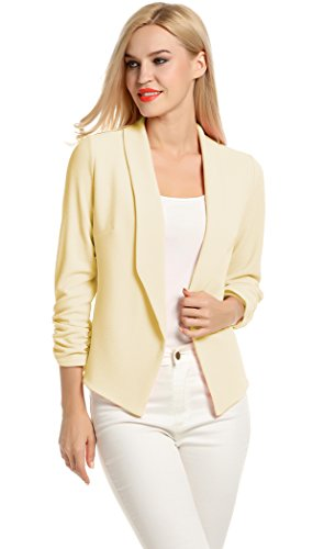 Fashion Casual Work Blazer Office Jacket for Women and Juniors (M, Beige)
