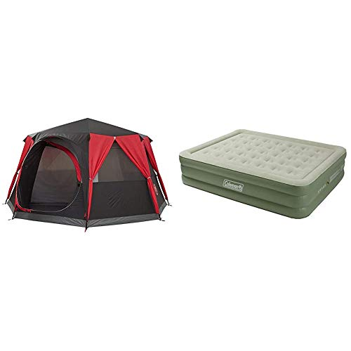 Coleman Tent Octagon, 6 to 8 Man Festival Dome Tent, Waterproof Family Camping Tent with Sewn-in Groundsheet & Airbed Maxi Comfort Bed Raised King, Camping Mat, Flocked Air Bed, 198 x 152 x 46 cm
