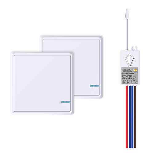 NineLeaf Wireless Lights Switch Kit No Wiring Remote Control Light Switching for LED Lamps 1000W Outdoor 500m Indoor 50m IP66 Waterproof (2PK One-Way Switches and 1PK Receiver)