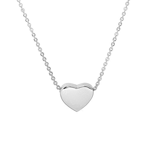 Dainty Heart Necklace Tiny Charm Pendant Choker Gift for Women (silver)