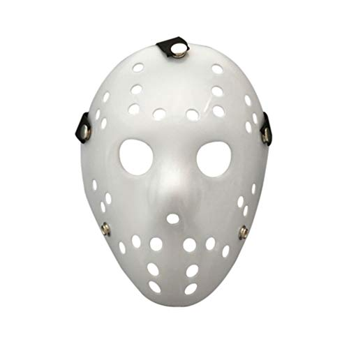 Amosfun Maschera di Halloween Jason Freddy Wars Jason Maschera Horror Costume Cosplay Masquerade Party Prop per Uomini Adulti (Bianco)