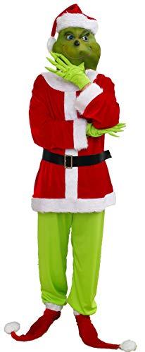 Adult Green Christmas Monster Deluxe Costume for Men Includes Jacket, Pants, Belt, Gloves, Socks, Hat, Latex Mask (Medium / Large)