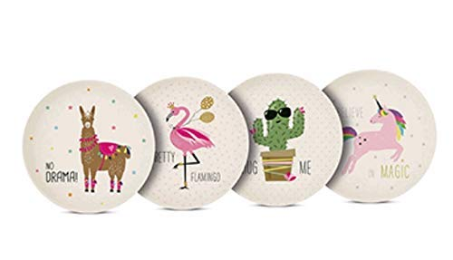 E+N Bambus-Teller Pink Unicorn Einhorn + Friends Lama Falmingo Kaktus Geschenk-Idee Umweltfreundliches Geschirr, 4-er Set, D: 24,8cm, Bambusfasern