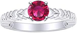 AFFY Valentine s Day Jewelry Gift Round Simulated Ruby Solitaire Heart Carving Promise Ring product image