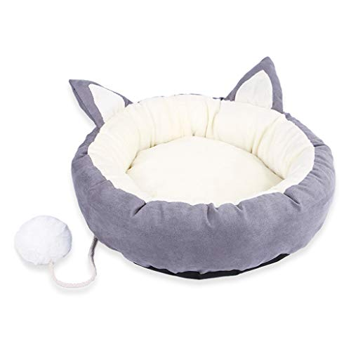 JOYKK Wasbare kattenwarmte-bed ronde kattenbedden Indoor Cats Medium