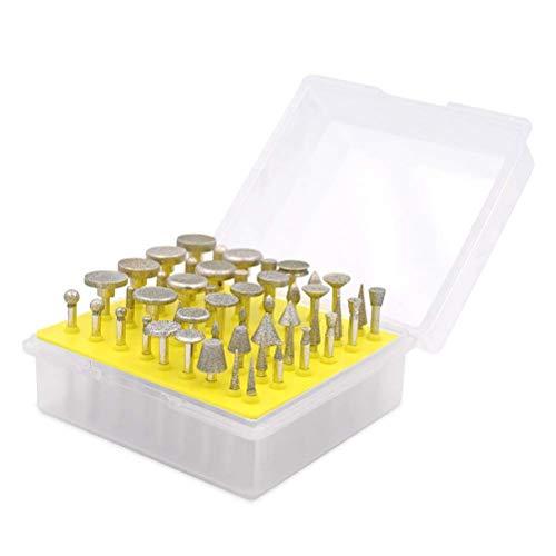 Diamant-Fräser-Set - GOXAWEE 50Pcs 150 Grana Set Diamantscheiben mit 3 mm Schaft/Zubehör für rotierende Werkzeuge/Basteln und Gravieren, Kerben, Schleifen und Polieren