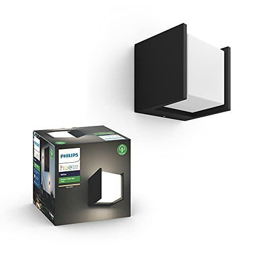 Philips Hue Lampada da parete bianca a LED Fuzo (blocco quadrato), per esterni, dimmerabile, luce bianca calda, controllabile tramite app, compatibile con Amazon Alexa (Echo, Echo Dot)