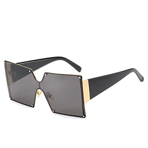Damen Sonnenbrille Aus Kunststoff,Mode Koreanischen Square Big Frame Siam Straße Wilde Straße Schießen Weiblichen Schwarzen Kristall Rainbow Weibliche Brille Sonnenbrille Uv 400 Für Reisen, Alltag