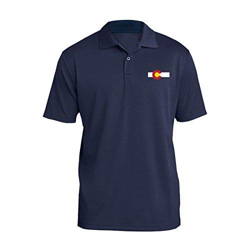 UGP Campus Apparel Colorado State Flag Embroidered Logo Mens Performance Polo - Medium - Navy