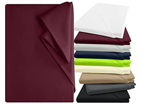 npluseins Bettlaken - 100prozent Baumwolle - in 9 Farben - in 3 verschiedenen Größen - Haushaltstuch ohne Spanngummi, ca. 150 x 250 cm, Bordeaux