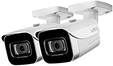 Lorex E841CA-E Indoor/Outdoor 4K Ultra HD Security IP Bullet Camera, 2.8mm, 130ft Night Vision, Color Night Vision, White (2 Pack)
