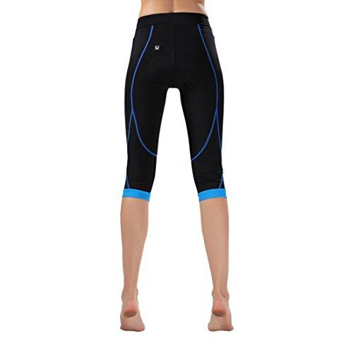 GWELL Damen Fahrradhose Radlerhose mit Sitzpolster Radhose 3/4 Komfort Slim Fit blau 2XL - 5