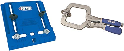 Kreg Tool Company - KHI-PULL Cabinet Hardware Jig and Kreg KHC-PREMIUM Face Clamp